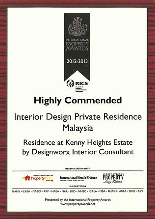International Property Awards l Highly Commended l Interior Design Private Residence l Designworx Interior Consultant