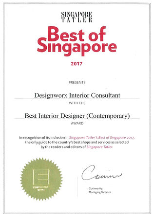Singapore Tatler Best of Singapore 2017 l Best Interior Design l Designworx Interior Consultant