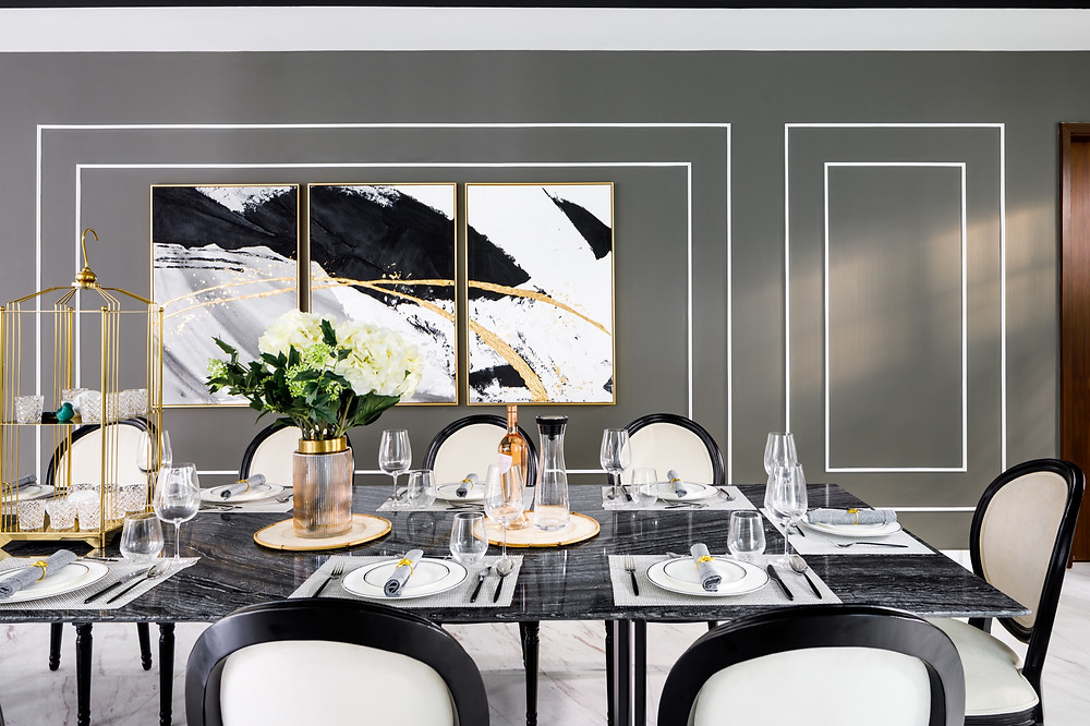 Black & White GCB at Cable Road - Dining feature wall