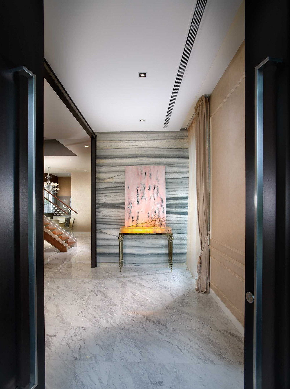 Parkstone Road - Residential Property Singapore - Timeless Designs - Marble - Accent - Artwork - Foyer - Best Interior Design Singapore - Designworx Interior Consultant