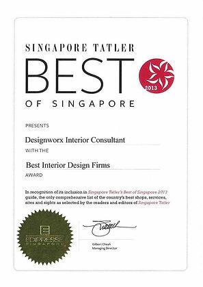 Singapore Tatler Best of Singapore 2013 l Best Interior Design Firms l Designworx Interior Consultant