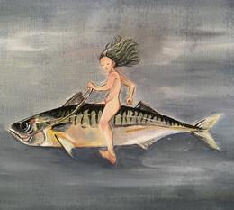 She was riding a super fast mackerel
