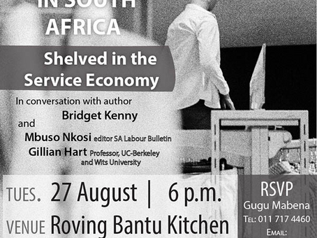 Book launch for Bridget Kenny's 'Retail Worker Politics, Race and Consumption in South Afric