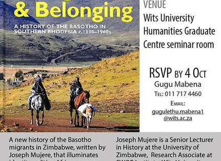 Book Launch: Jospeh Mujere's 'Land, Migration and Belonging'
