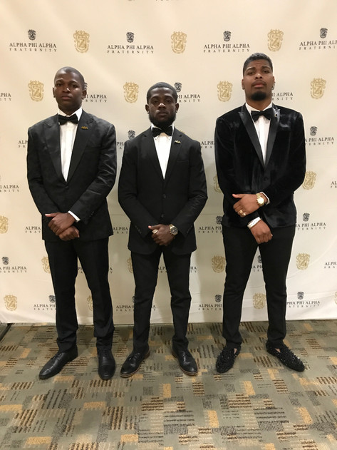 Delta Phi brothers Bro. Cecil Hill, Bro. Austin Warren, and Bro. Devin Houston attend gala at 94th General Convention.