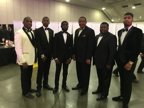 Delta Phi brothers attend gala with advisor Bro. Floyd Williams Jr., District Director Bro. Kevin T. Wilbert I, and Southern Region Executive Director Bro. Carlos D. Smith.
