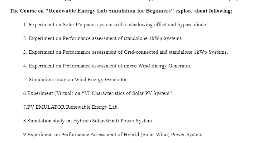Renewable Energy Lab Simulation for Beginners - As Per AnnaUniversity Syllabus