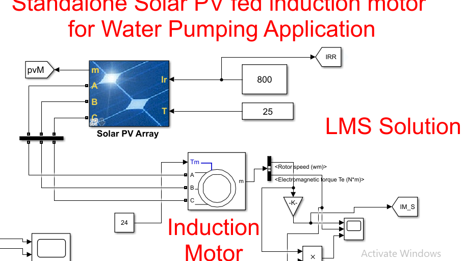 Standalone Solar PV fed induction motor for Water Pumping Application