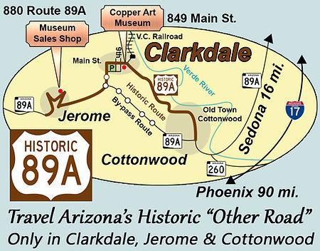 Map Of Arizona 1858.Copper Art Museum Clarkdale Arizona Contact Us