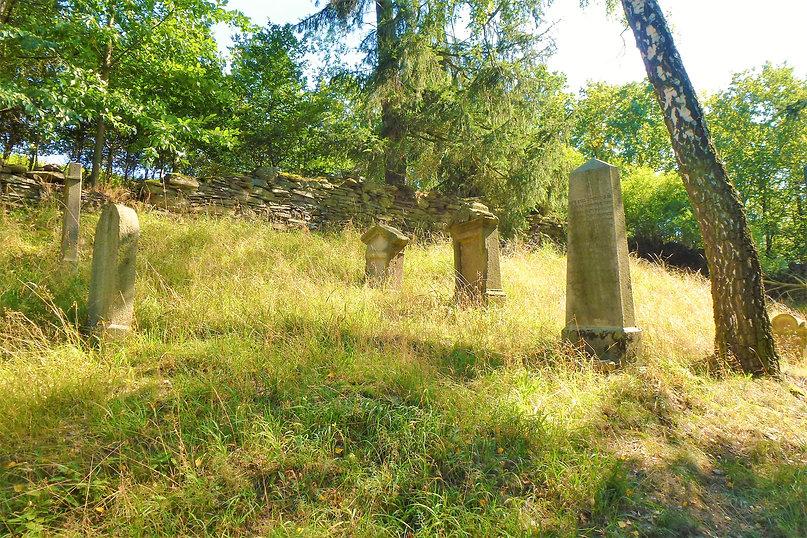 Z trávy vykukující náhrobky na židovském