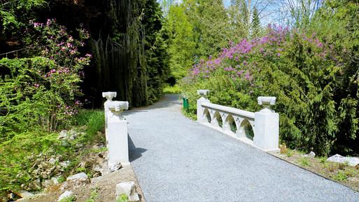 Romantický mostek v arboretu v Bílé Lhotě