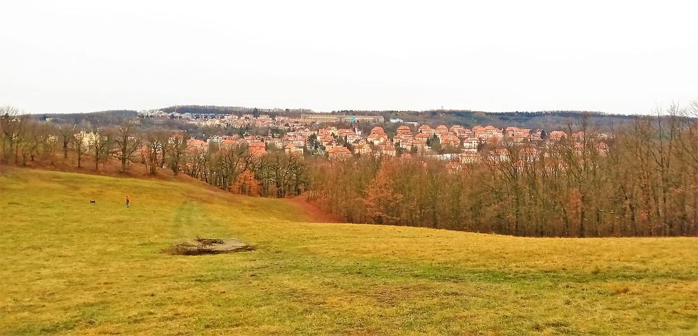 Výhled na klidovou vilovou část Košíř z PP Skalka