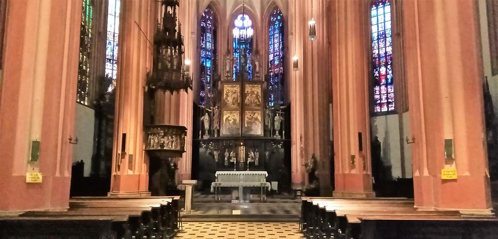 Detail vnitřního vybavení NKP kostela svatého Mořice v Olomouci