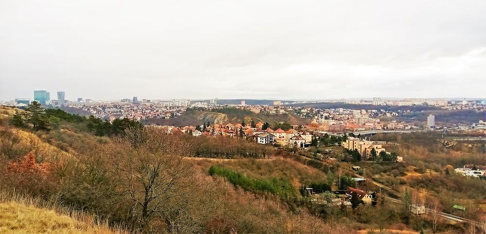 Pohled z Přírodní rezervace Prokopské údolí - Vysoká