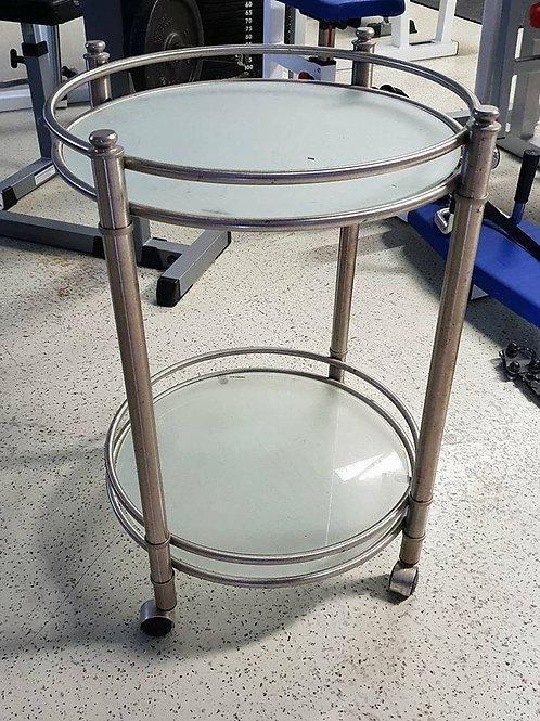 Glastisch mit Edelstahlgestell , ideal als Servierwagen