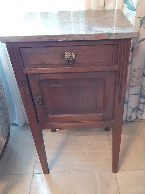 Antiker Nachttisch mit Marmorplatte
