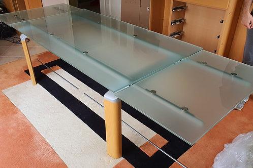Esszimmertisch mit Glasplatte & 2 Verlängerungen