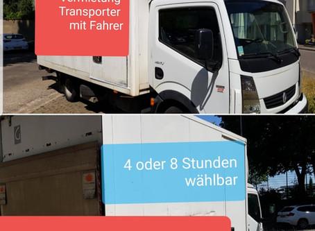 (1)VERMIETUNG TRANSPORTER mit FAHRER  - (2)Transporte oder Umzüge -