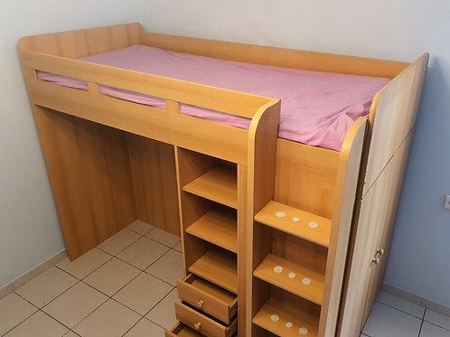 Kinderhochbett mit Schrank integriert