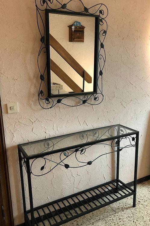 Glastisch mit Spiegel für Flur