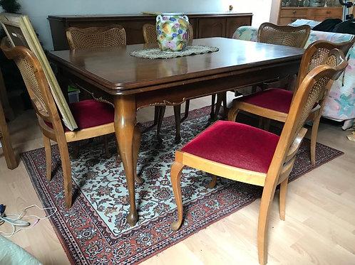 Massiver Esszimmertisch mit 6 Stühlen