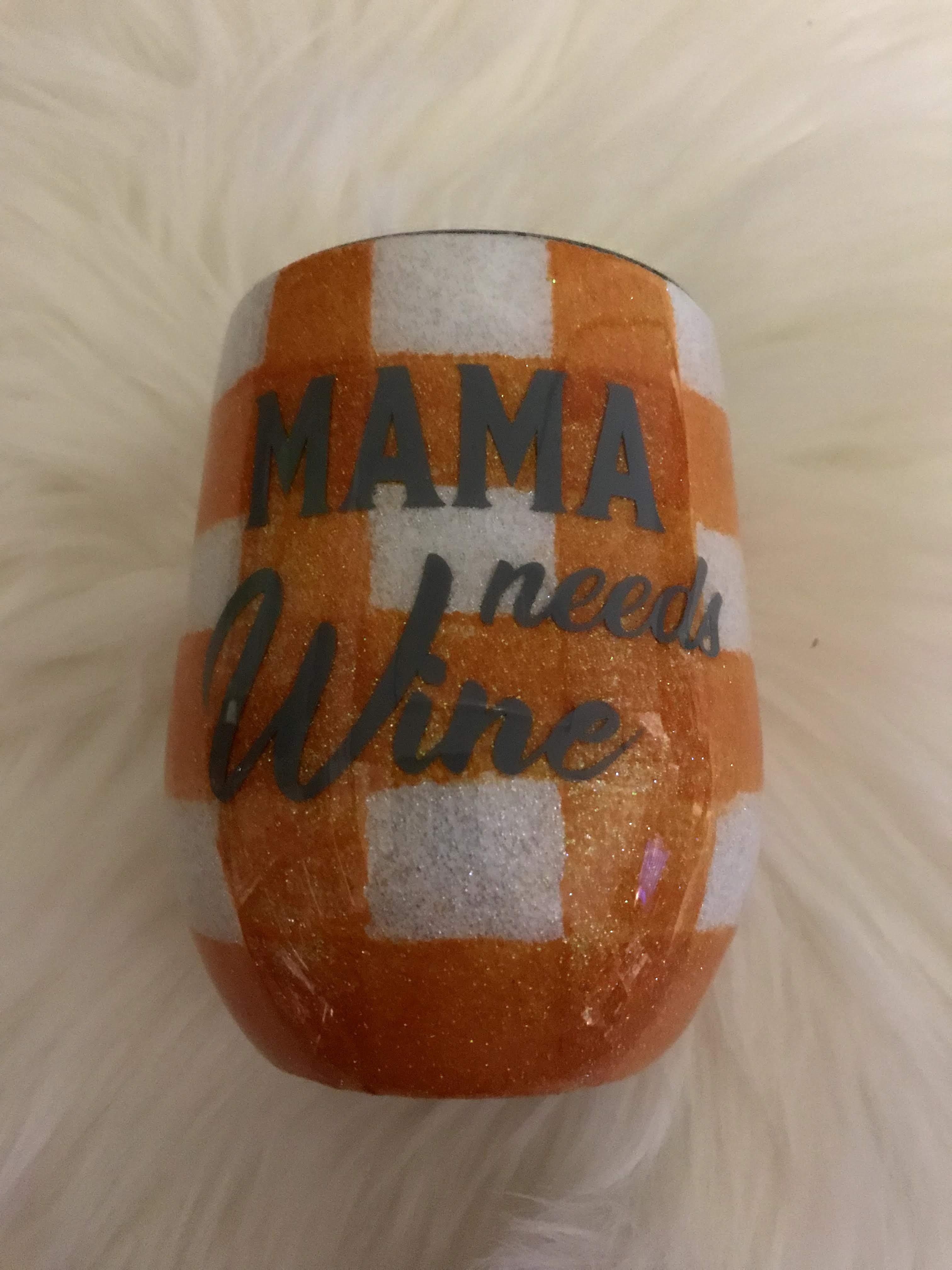 Thumbnail: White And Orange Plaid wine tumbler