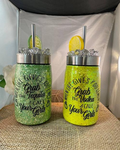 17 oz When life gives you lemons/limes mason jar Tumbler