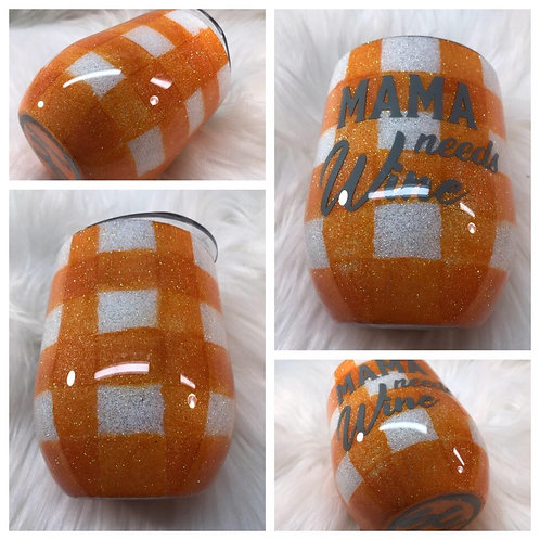 White And Orange Plaid wine tumbler