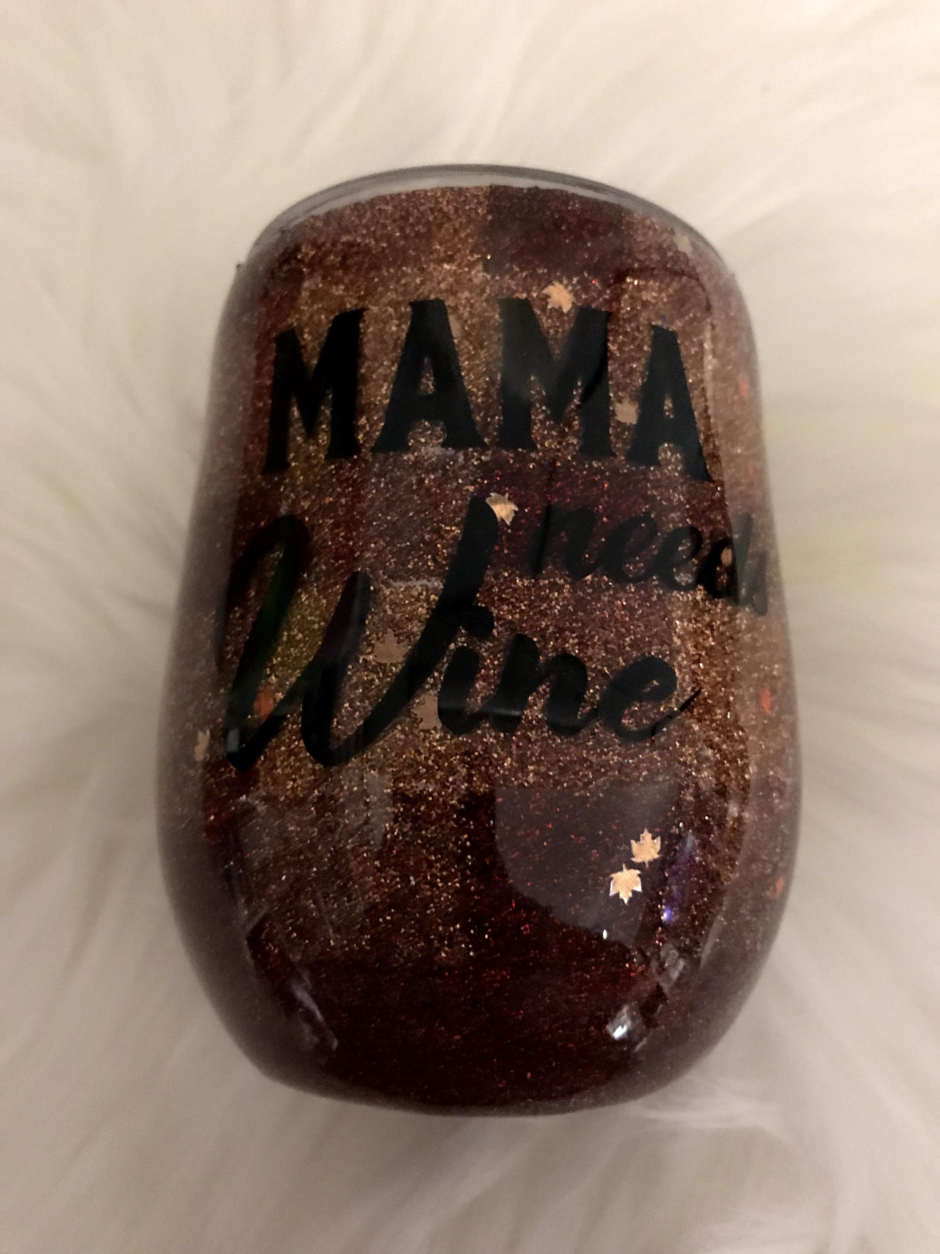 Thumbnail: wine tumbler plaid Mama Needs Wine