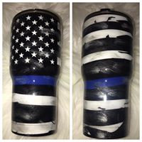Thin Blue Line Distressed Tumbler