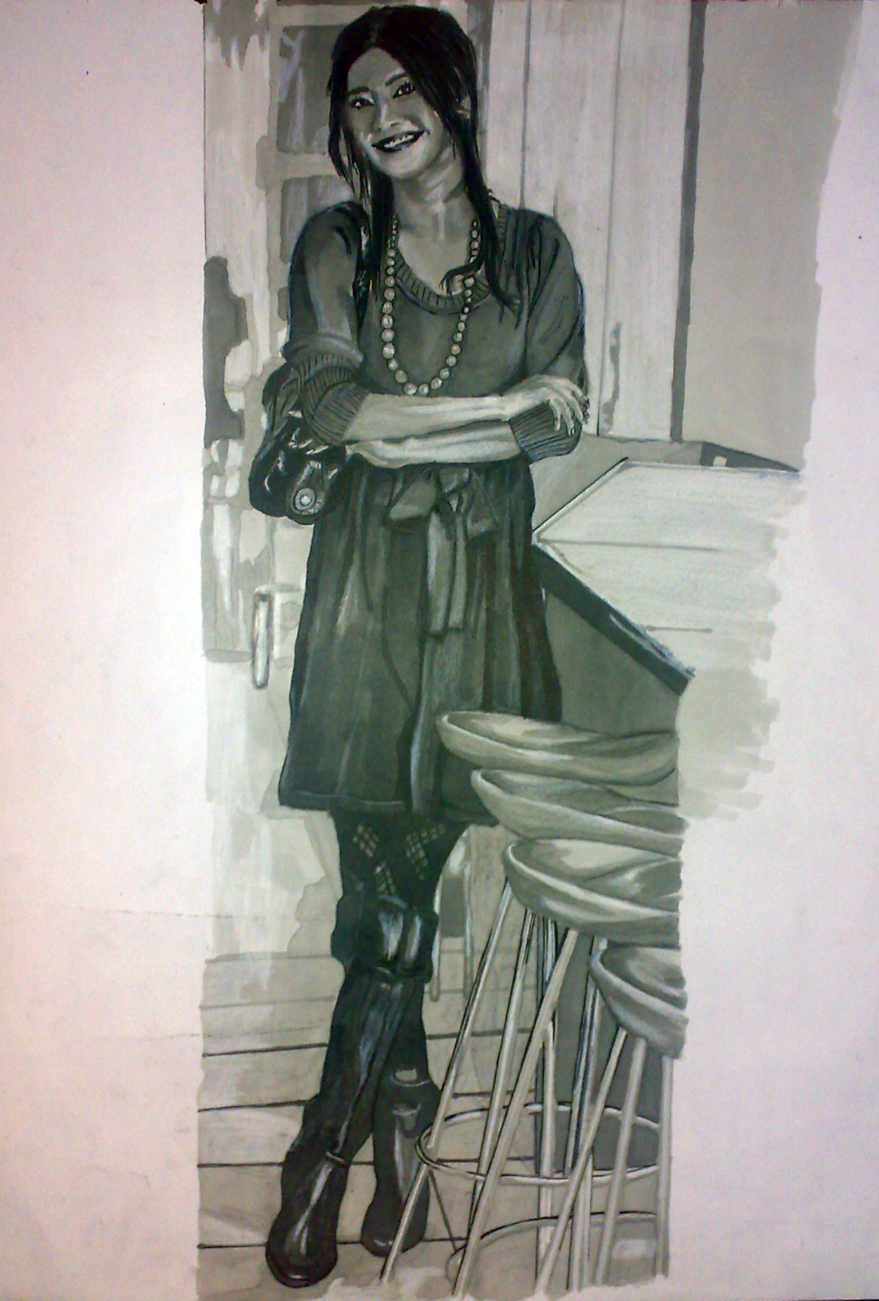 Lady (Grey Marker Drawing)