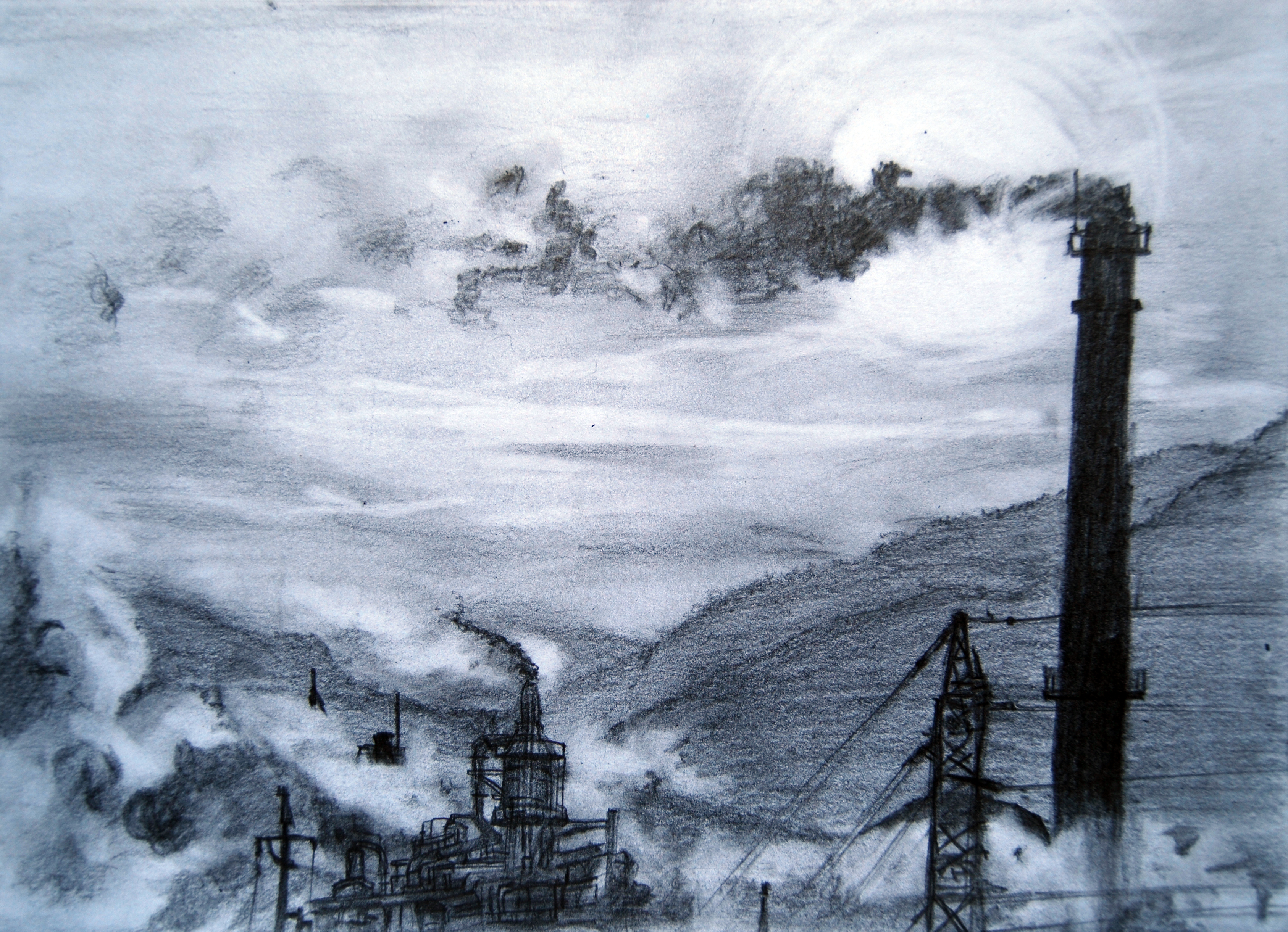 Air pollution pencil drawing