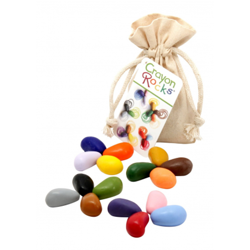 Crayons de cire - Pack de 16 couleurs + 1 sac de coton