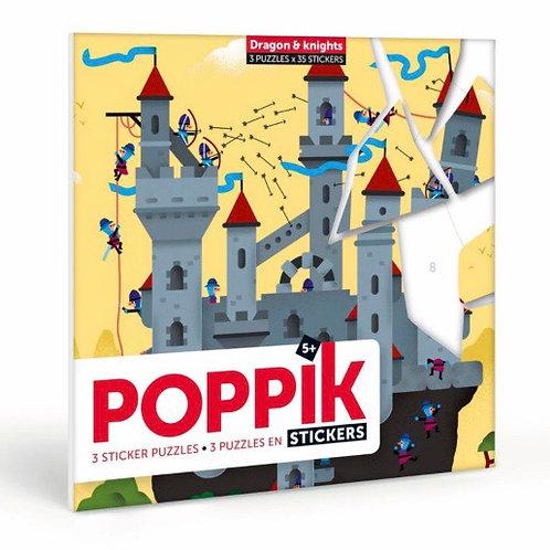 Poppik - Puzzles Stickers dragon et chevalier