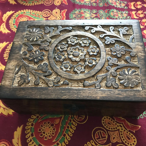 Carved Wooden 24 Bottle Aromatherapy Chest