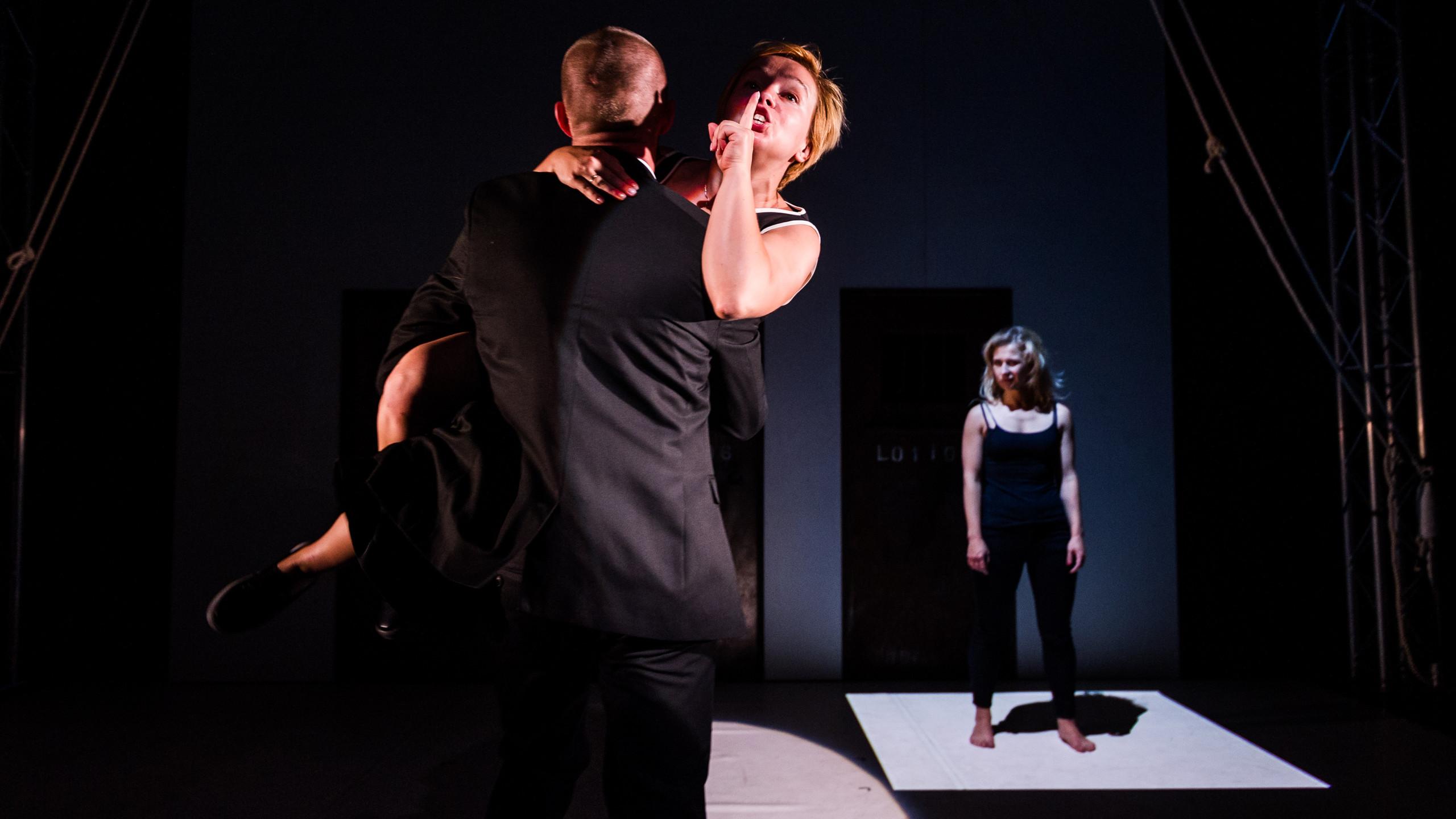 (c) Alex Brenner, Belarus Free Theatre - Burning Doors. Kiryl Kanstantsinau, Maryna Yurevich and Maria Alyokhina