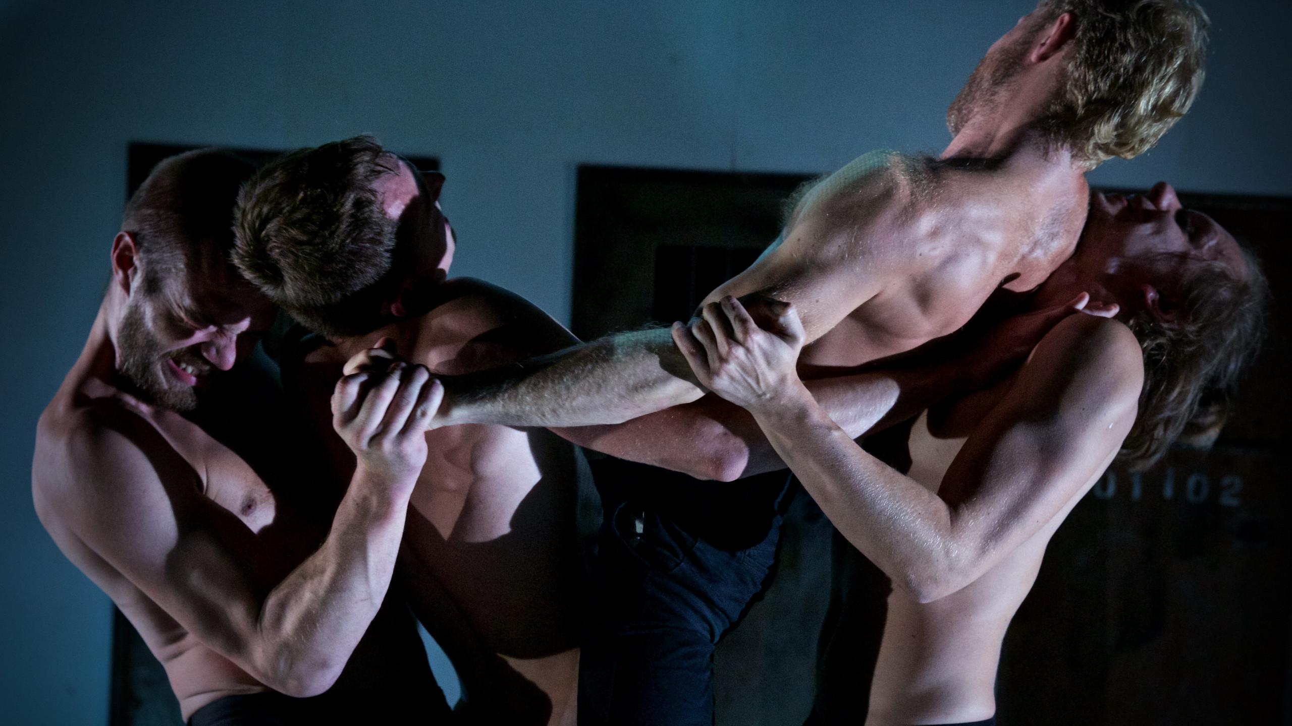 (c) Nicolai Khalezin, Belarus Free Theatre - Burning Doors. Kiryl Kanstantsinau, Siarhei Kvachonak, Andrei Urazau- and Pavel Haradnitski