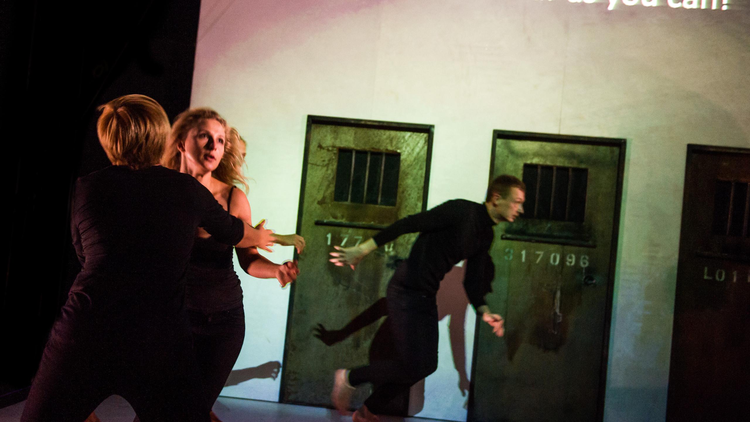 (c) Alex Brenner, Belarus Free Theatre - Burning Doors. Maryna Yurevich, Maria Alyokhina and Siarhei Kvachonak.