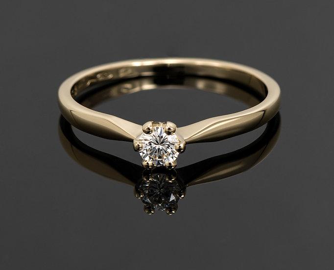Inel din aur galben de 14k cu diamante de 0.15 ct.