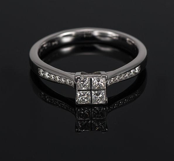 Inel din aur alb de 14k cu diamante de 0.34 ct.