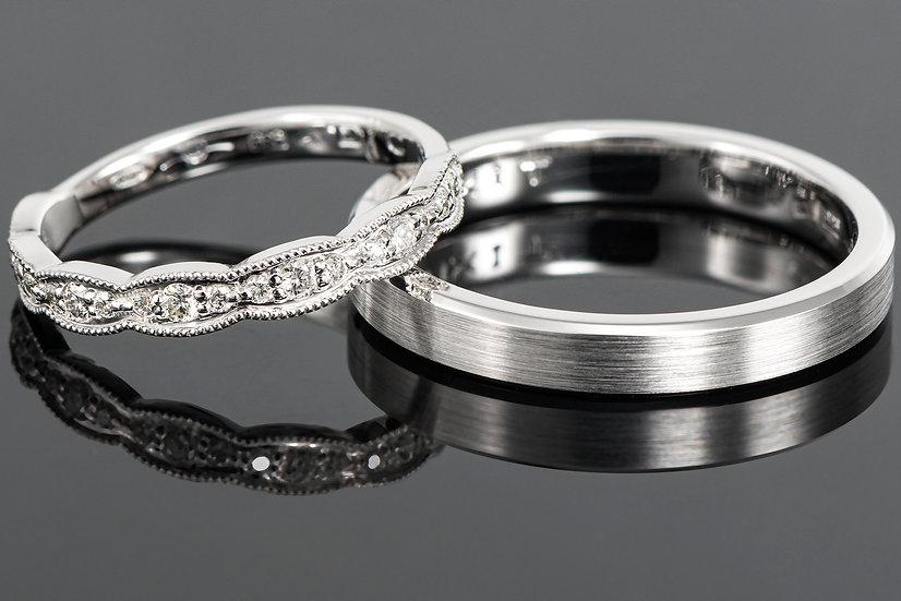 Pereche de verighete din aur alb de 14 K cu diamant de 0.17 CT.