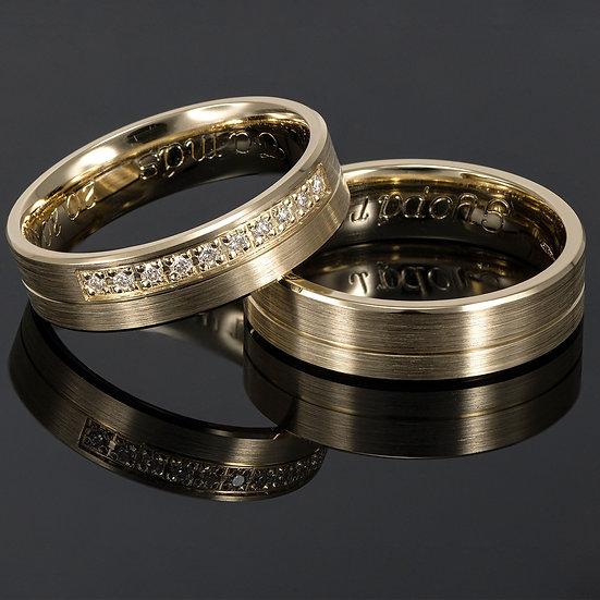 Pereche de verighete din aur galben de 14 K cu diamante de 0.08 CT.