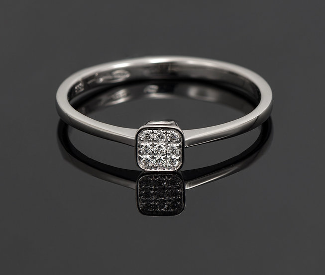 Inel din aur alb de 14k cu diamante de 0.05 ct.