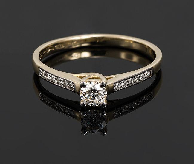 Inel din aur galben de 14k cu diamante de 0.26 ct.