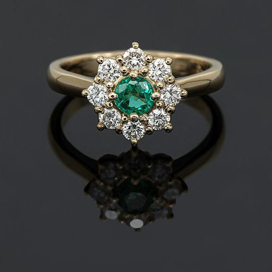 Inel din aur galben de 14k cu smarald de 0.33ct si diamante de 0.46ct.