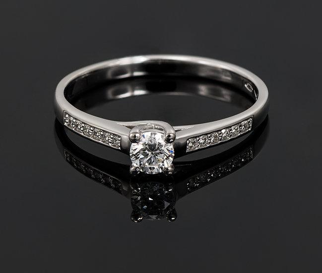 Inel din aur alb de 14k cu diamante de 0.26 ct.