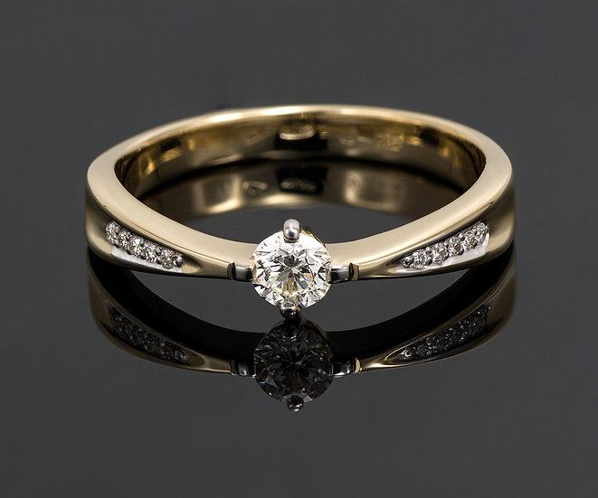 Inel din aur galben de 14k cu diamante de 0.30 ct.
