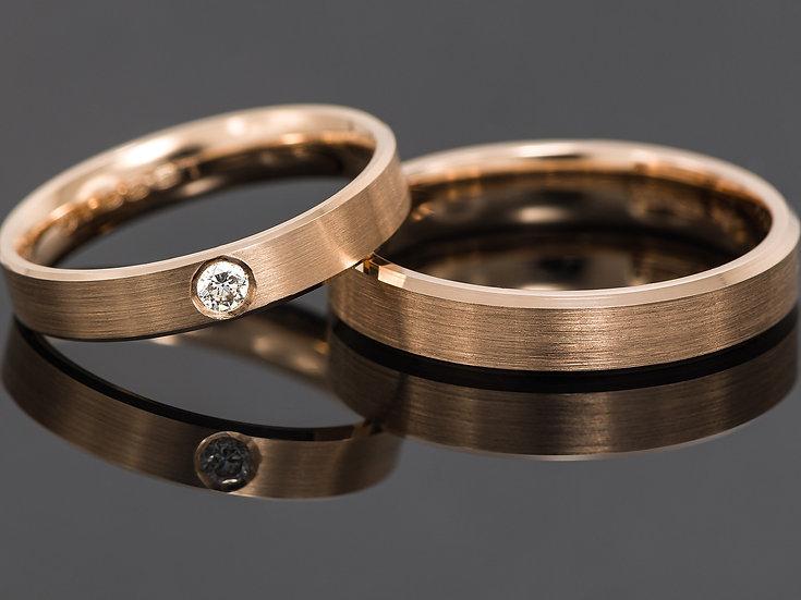 Pereche de verighete din aur roz de 14K cu diamant de 0.06 CT.