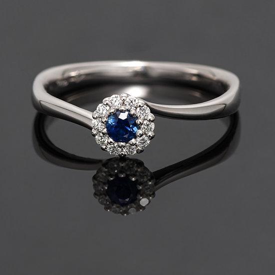 Inel din aur alb de 14k cu diamante de 0.07ct si safir de 0.10 ct.