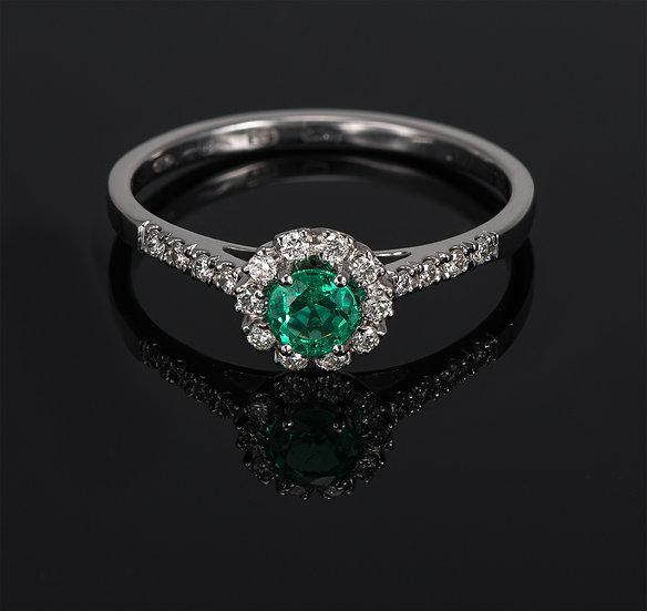 Inel din aur alb de 14k cu smarald si diamante de 0.14 ct.